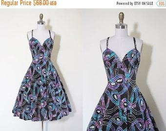 ON SALE 1960s Dress - Vintage 60s 70s Dress - Batik Cotton Atomic Sundress XS Xxs - Celestial Travel Dress