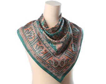"Vintage PAISLEY Print Scarf 60s Bohemian  Kerchief Green Beige Retro Printed 1960s Hand Printed 26 "" Square Neck Wear Christmas Gift Idea"
