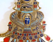 Vintage King Tut Pectoral with Solar & Lunar Emblems Necklace