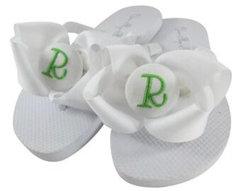 White & Apple Bow Flip Flops. Monogram sandals for Ladies gift or Girl's. All colors.