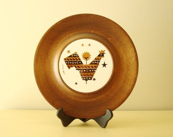 Mid-century cheese tray, wood & tile, Woodbury Woodware trivet, rooster serving tray, snack platter, handmade wood plate, 1960s home decor