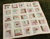 Scrappy Log Cabin Patchwork Baby Quilt in Hushabye by Tula Pink for Moda