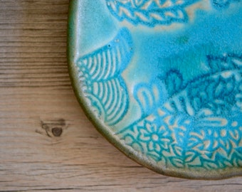 "Ring dish in Caribbean Blue glaze - 5"" fish lovely calming romantic coastal turquoise soap dish"