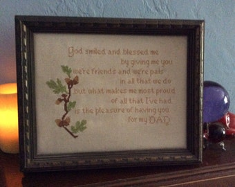 Happy Father's Day blast from the past for your Dad a  Vintage framed and cross stitched for Dad..a great Present mid century