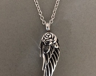 Ashes Holder - Urn Jar - Cremation Locket - Memorial Necklace - Pendant - Angel Wing