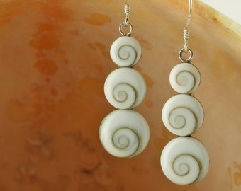 Sterling Silver Three Circle Shiva Shell Earrings