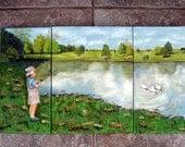 Fisherman Painting, Tryptich, Boy Fishing, Ducks, Pond, Painting of fisherman,  Original oil Painting, child fishing, Helen Eaton