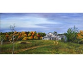 Barn Painting, Old Barn, Painting of Barn, Farm Painting, Autumn Trees, Autumn Painting, Autumn Colors, Original Oil Painting, Helen Eaton