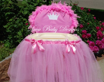 Pink Princess High Chair Cover & tray tutu tulle skirt crown birthday high chair decorations 1st first birthday party princess theme