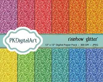 Glitter Paper Pack Rainbow Glitter: Glitter Digital Papers suitable for scrapbooking, cards, background
