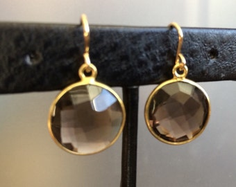 Twinkle Nights Smoky smokey Quartz and gold bezel earrings