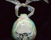 Tree with Birds Doves Stamped Turquoise and Pink Crystalline and Black Glazed Porcelain Christmas Tree Ornament