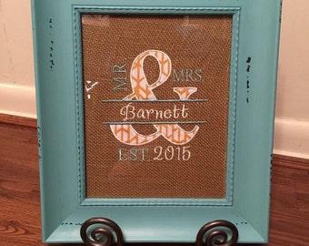Wedding monogram, wedding gift, wedding date monogram, Burlap with Picture Frame