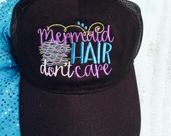 Mermaid Hair Don't Care Hat, Mermaid Hat Gift for Her