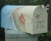 Beach Decor, Hand painted Mailbox. Shell Mailbox, Mothers Day, Fathers Day gift,  housewarming gift. Personalized Mailbox.
