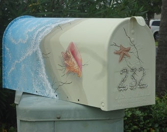 Personalized Beach Decor, a hand painted mailbox, shell and beach mailbox. A great Housewarming Gift