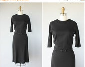 HOLIDAY SALE... Vintage 1950s Wool Dress | 50s Dress | 50s Wool Dress | Vintage Black Wool Dress | 50s Wiggle Dress