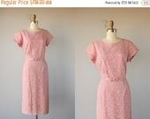 25% OFF SALE... Vintage 50s Dress | 1950s Dress | 50s Wiggle Dress | Lace Cocktail Dress | Pink Lace Dress 50s