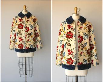 1960s Coat | Vintage 60s Coat | 1960s Chenille Coat | Tapestry Coat | Floral Coat
