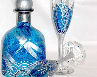 Ice Blue Wedding Champagne Flutes Hand Painted Dragonfly Decanter, 3 Piece Wedding Set with Lidded Gift Box