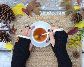 Fingerless Gloves, Knit Fingerless Gloves, Black Fingerless Gloves, Half Finger Gloves, Winter Gloves, Mittens, Lace Gloves, Arm Warmers