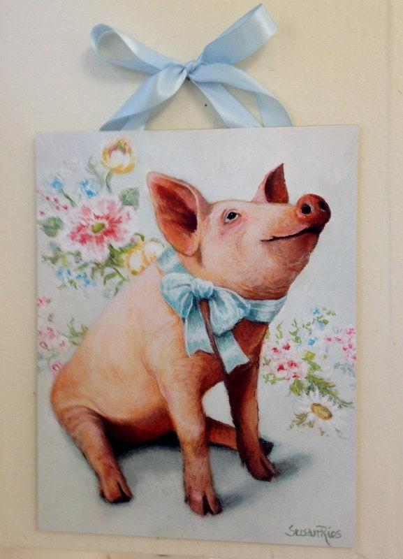Pig print pig art pig home decor floral print floral art for Pig decorations for home