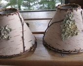 birch bark chandelier shades - rustic mini lamp shade - green upcycled product made in USA Inv #33