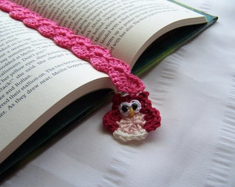 For book lovers crochet bookmark with owl book mark is 12 inch long