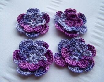 Appliques hand crocheted flowers set of 4 grape splash cotton 1.5 inch