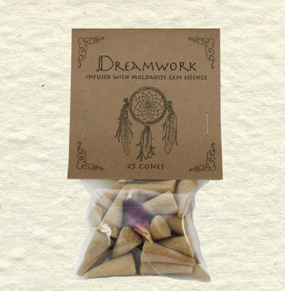 Dreamwork Blend Incense Cones with Moldavite Gem Essence, Rose, Sandalwood