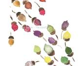 acorns colors of fall art Print/ print of watercolor/ autumn hues/ woodland art print/ colorful/  fall colors/ modern art