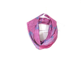 Sari Silk Infinity Scarf Pink Scarf Tropical Scarf Summer Scarf Lightweight Scarf Silk Scarf Upcycled Scarf Eco Fashion Pink Gift for Her