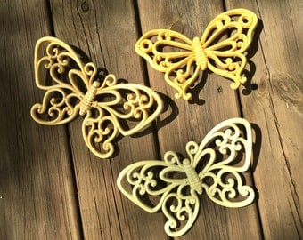 Three Plastic Butterfly Vintage Wall Decor Syroco - Homeco
