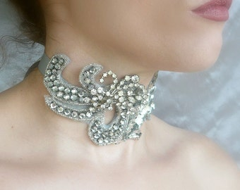 Art Deco Choker, Victorian Beweed Choker, Silver Rhinestone Choker - Crystal Necklace - Burlesque, Vintage Wedding, Bridal Choker