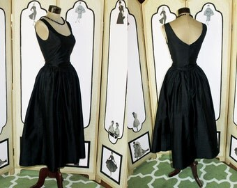Vintage Ballet Beauty Black Silk Evening Dress by Laura Ashley NWT. Small US 6