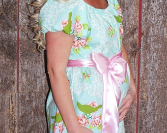 Maternity Hospital Gown in Skye- Perfect for Nursing and Skin to Skin - Choose Options - Ready to Ship