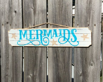 Mermaid Sign Beach Nursery and Coastal Decor
