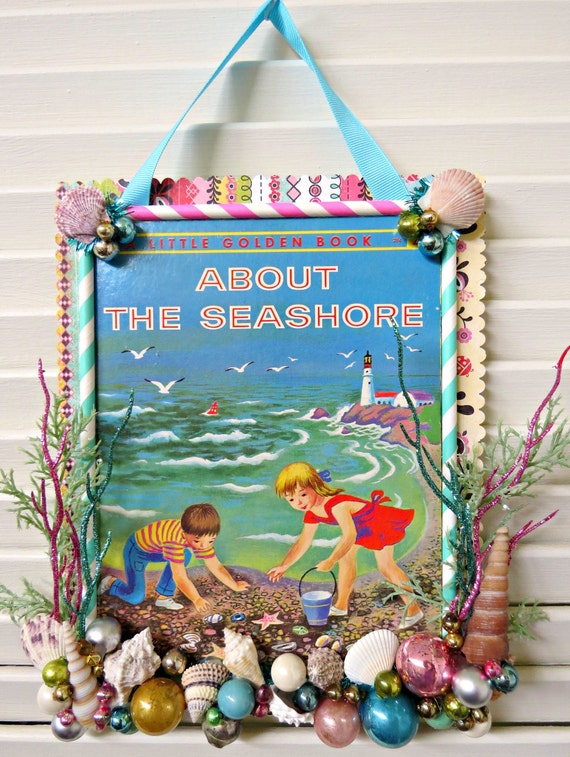Book Cover Decoration ~ Vintage cute book cover summer beach wall decoration