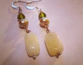 Calcite, swarovski, and freshwater pearl Earrings