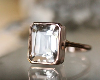 Emerald Cut White Topaz 14K Rose Gold Ring, Cocktail Ring, Gemstone Ring, Recycled Gold, Eco Friendly - Made To Order