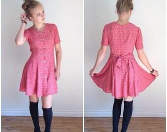 Summer Sale 90s Babydoll Dress Red Short Sleeve Dress Flared Skater Skirt Grunge Goth Ditzy Print 1990s Button Down Dress, Mini Dress 90s Me