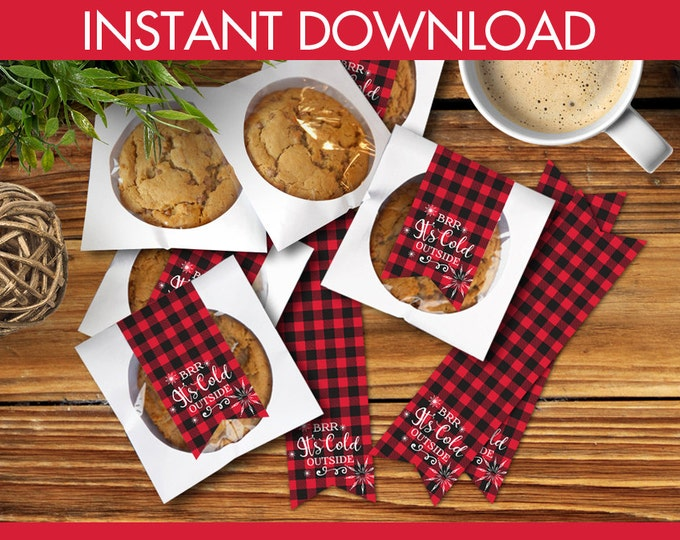 Cookie Labels - Brr It's Cold Outside, Christmas Cookies, Cookie Swap Labels, Holiday Cookie Labels - Instant Download PDF Printable