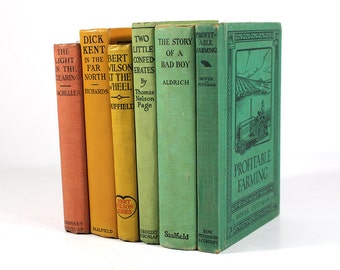 Set of 6 Vintage Books - Sherbert Rainbow - Early 1900's Cloth Hardcover