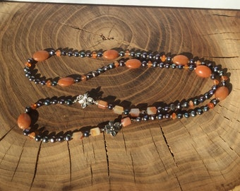Charcoal grey pearls and Carnelian necklace
