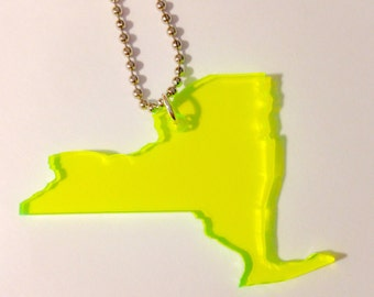 NY Necklace in Neon Green See Thru Acrylic Plastic - Large Size - New York Necklace - State Jewelry