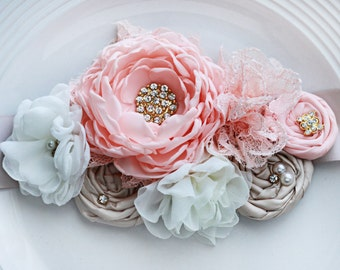Peach and Champagne Bridal Sash
