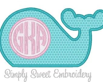 Whale Monogram Machine Embroidery Applique Design