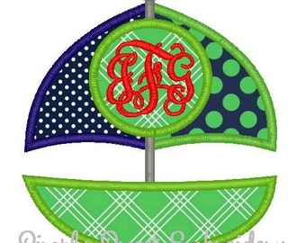 Sailboat Monogram Machine Embroidery Applique Design