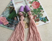 Dusky pink tassel ear plugs, breakfast at Tiffanys, Valentine's gift.