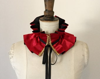 Red Circus collar, Circus costume, Burlesque costume.